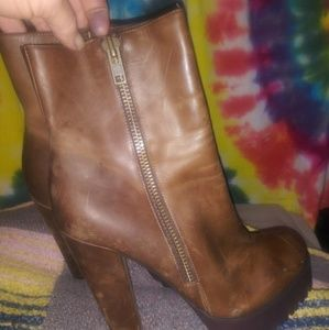 William Rast Platform Boots Brown Round Toe 9.5